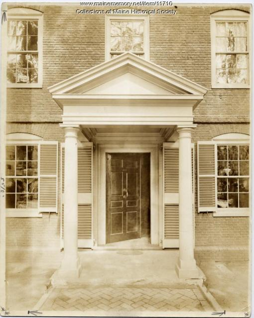 Front door of the Wadsworth-Longfellow House in Portland, ca. 1902