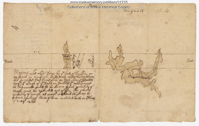 Map of a plan of Maquoit Meadows, ca. 1720