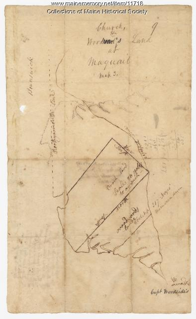 Map of land around Maquoit Bay, ca. 1740