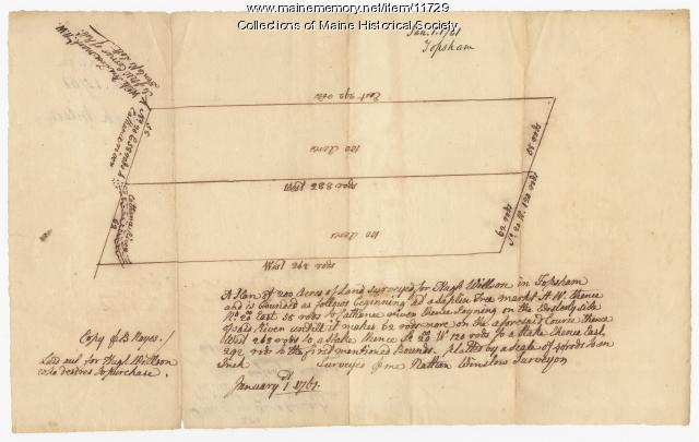 Land surveyed for Hugh Wilson, Topsham, 1761