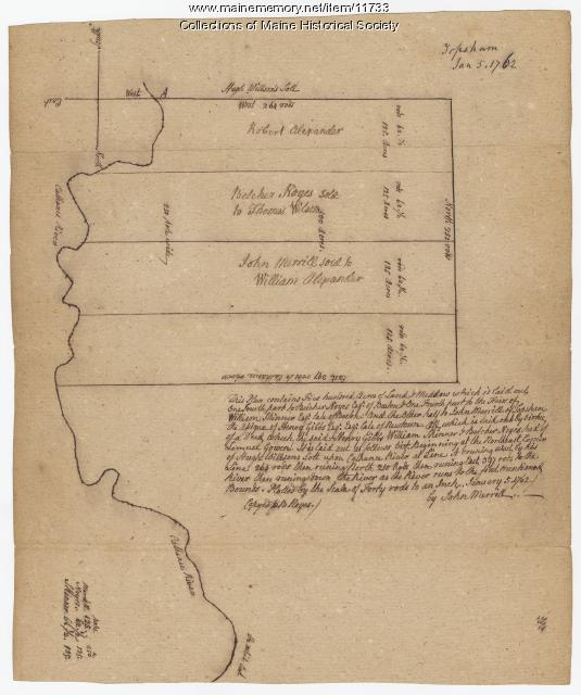 Noyes, Skinner, and Merrill lots, Topsham, 1762