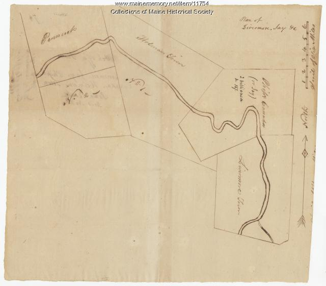 Map of towns laid out along the Androscoggin River,  ca. 1760, Map #74