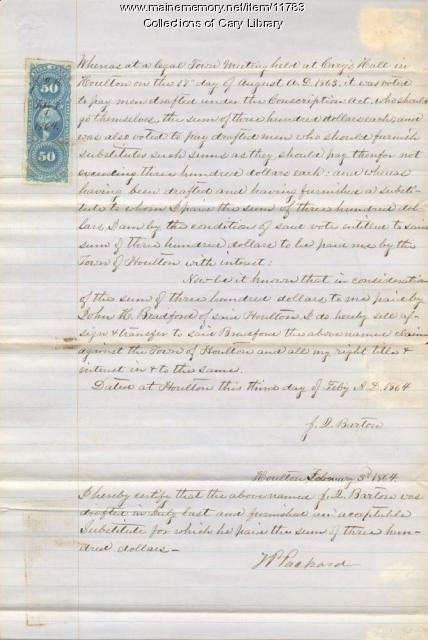 Letter about J. L. Barton and Civil War substitutes, 1863
