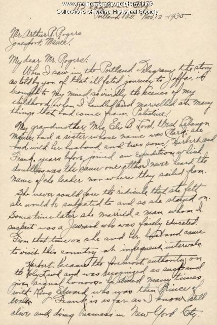 Letter from Ms. Lord about the Jaffa Colony