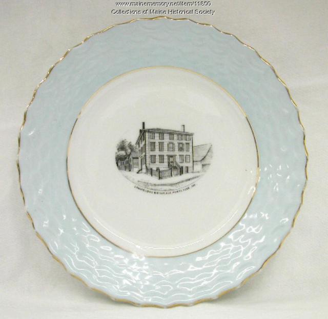 Longfellow's Birthplace commemorative plate, ca. 1900