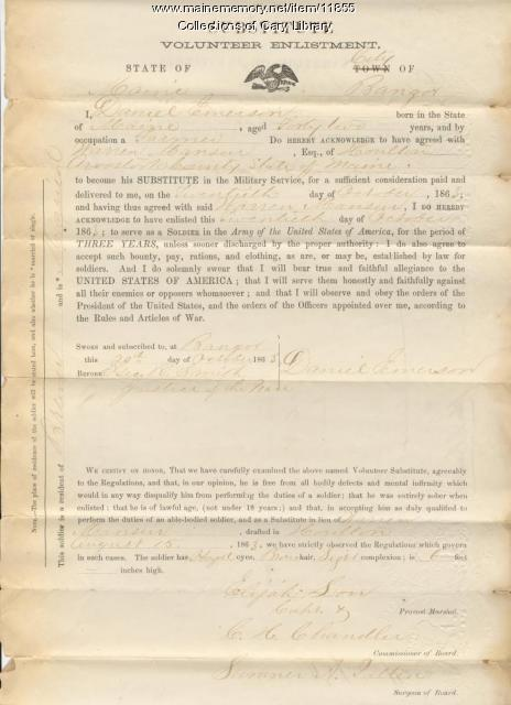Army enlistment form, Houlton, 1867
