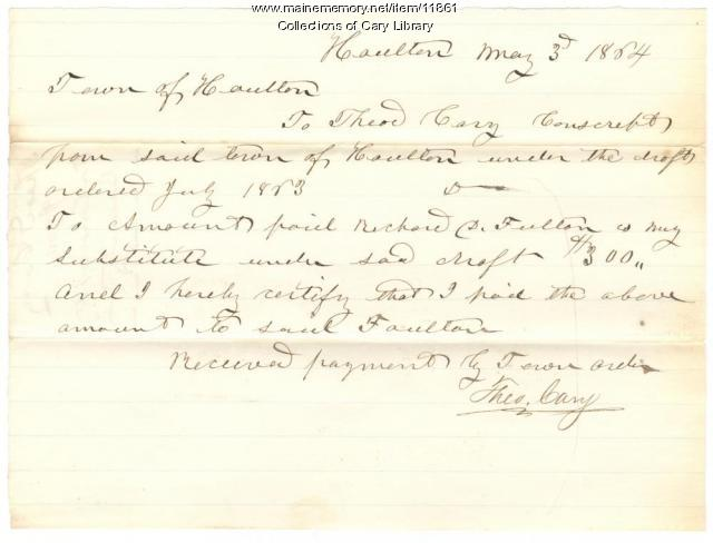 Civil War bounty receipt, Houlton, 1864