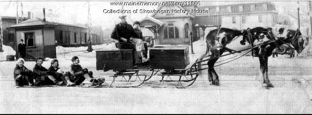 Skowhegan Railroad Station, Young women,Toboggan and Horse Drawn Sled