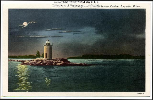 Moonlight on Lake Cobbossee Contee, Augusta, ca. 1944