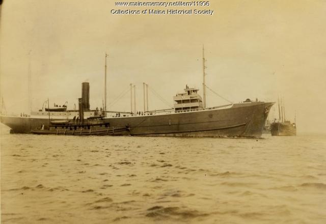 The Steamer Ripogenus and the Tug Cumberland, ca. 1900