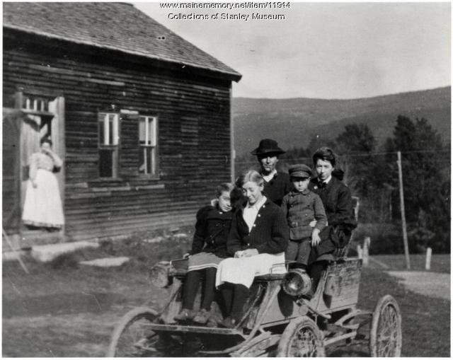Visiting neighbors in an Early Stanley Steamer, Lexington, 1906