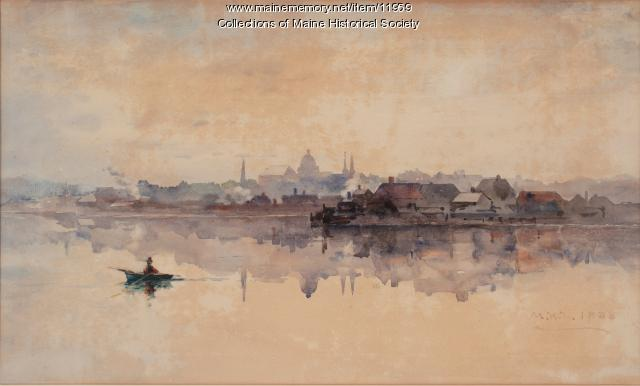 Portland Skyline, Mary King Longfellow, 1885