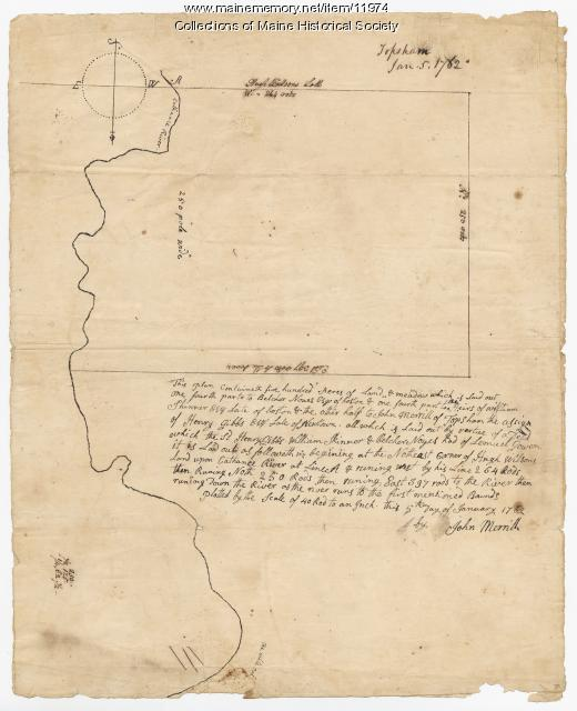 Map of the John Merrill lot in Topsham, Maine, 1762, Map 34