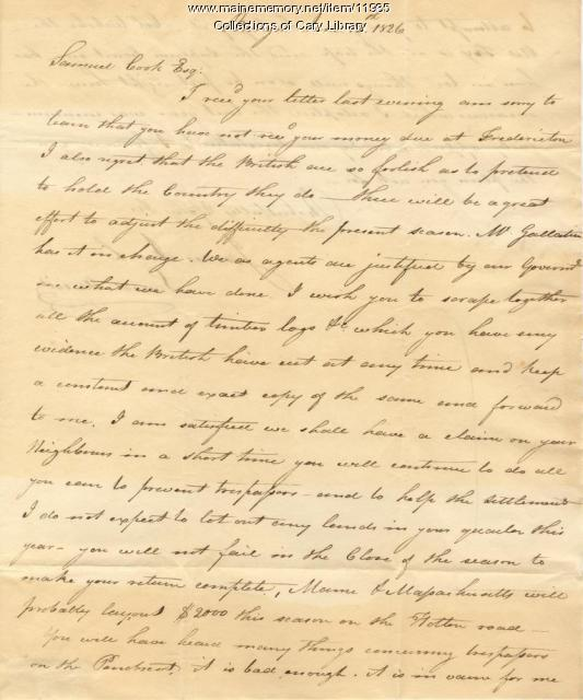 James Irish Letter to Samuel Cook, June 12, 1826