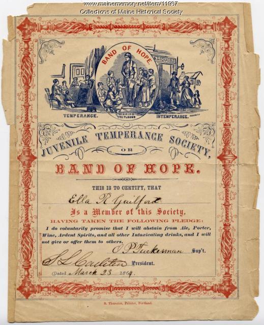 Juvenile Temperance Society pledge, 1864