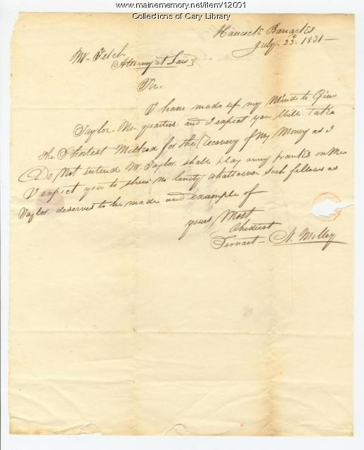 N. Malloy Sends Instructions to his lawyer, Houlton, 1831