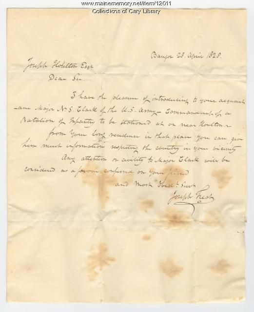 Letter of Introduction, Bangor, 1828