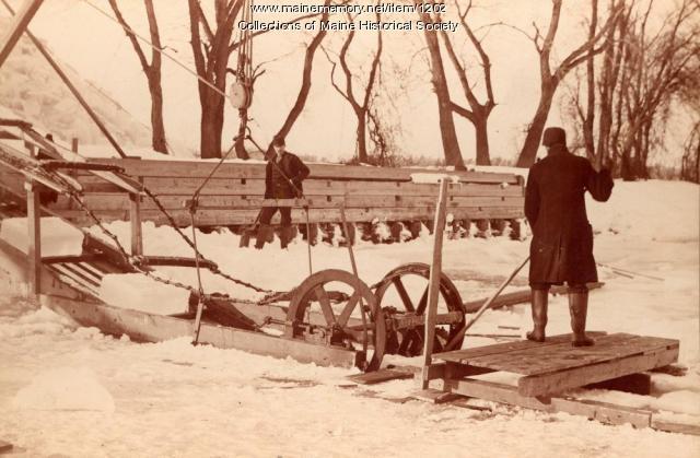 Ice harvesting equipment, Bowdoinham, ca. 1895