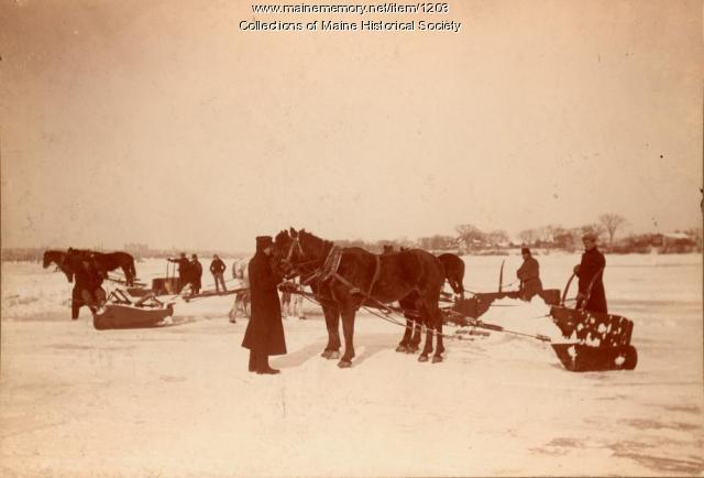 Ice scraping, Bowdoinham, ca. 1895