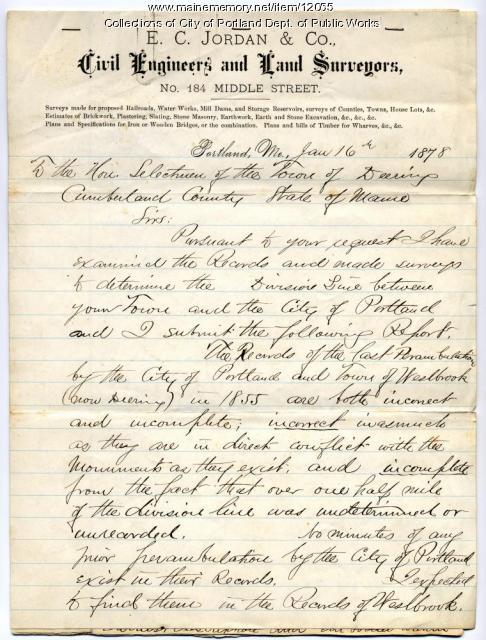 E.C. Jordan's letter regarding boundary of Deering, 1878