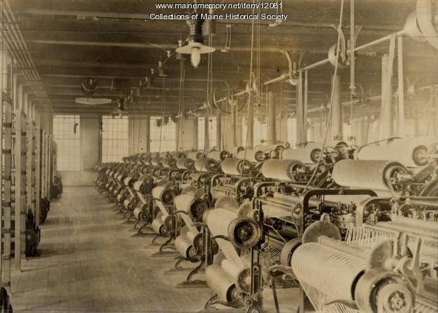 Textile mill carding room, ca. 1900