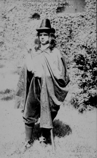 Man in colonial costume, Maine Centennial celebration, 1920