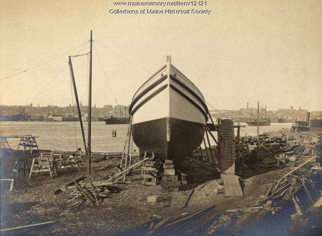 Ship on runway, South Portland, 1905