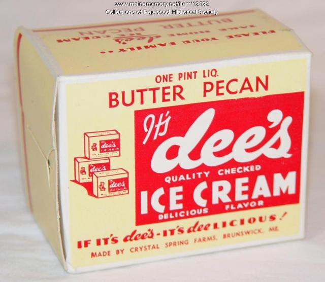 Dee's Ice Cream Pint, Brunswick, ca. 1950