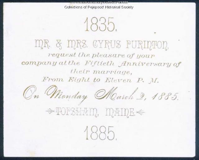 Mr. & Mrs. Cyrus Purinton's 50th Anniversary Invitation