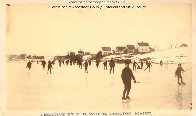 Skating on the Meduxnekeag River, Houlton, ca. 1895