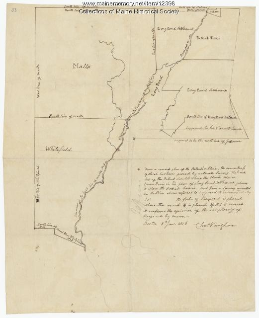 Early map of the Sheepscot River, 1816