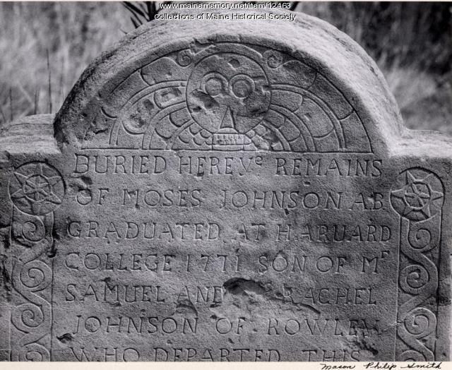 Moses Johnson headstone, 1773, Portland, 1965