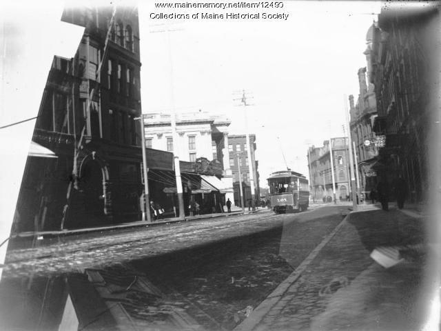 Trolley on Middle Street, Portland, ca. 1900