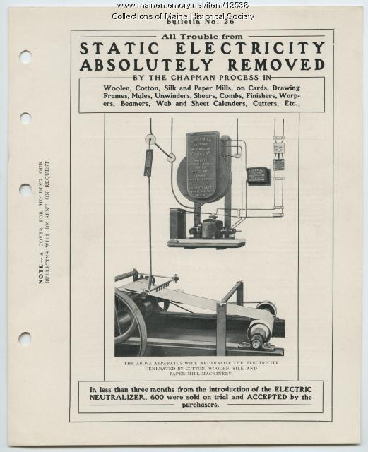 Chapman electric neutralizing machine, Portland Company, ca. 1904