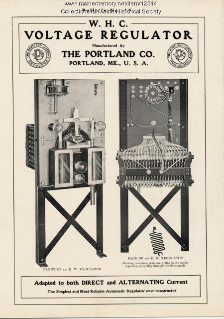 W.H.C. Automatic Voltage Regulators, Portland Company, ca. 1904