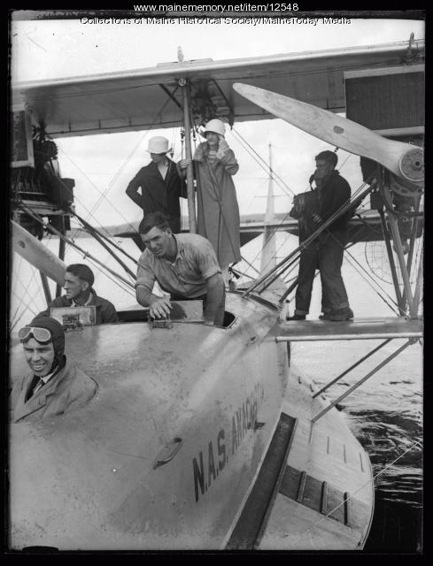 Governor Brewster seated in a Biplane, ca. 1925