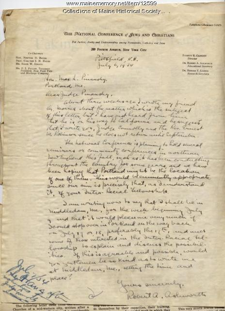 Letter to Max Pinansky from Robert A. Ashworth, 1934