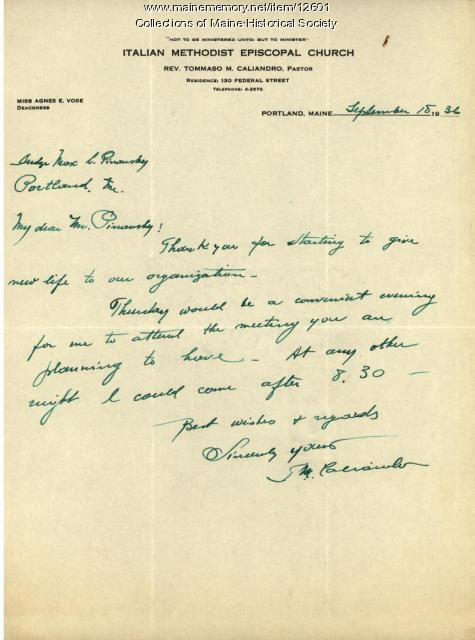 Letter of support for Portland Inter-Racial Fellowship of America, 1936