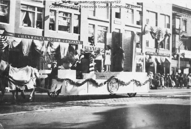 Longfellow float, Maine Centennial Parade, Portland, 1920