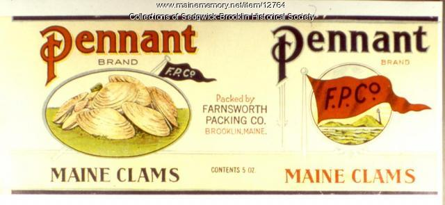 Farnsworth Packing Co. label, Brooklin, ca. 1910