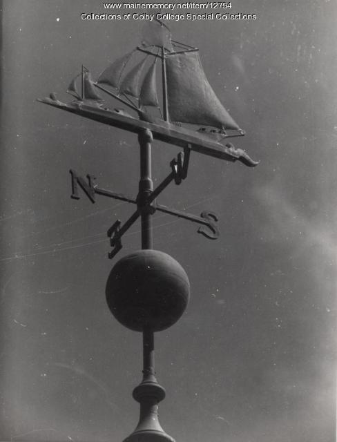 Sloop Hero weathervane, Colby College, Waterville, ca. 1900