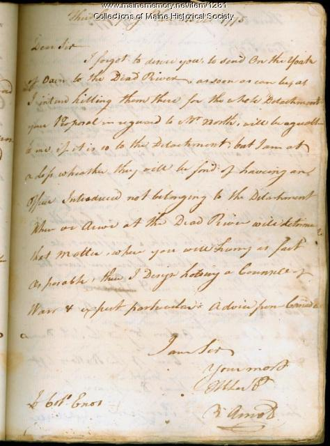 Benedict Arnold letter, along the Dead River, 1775