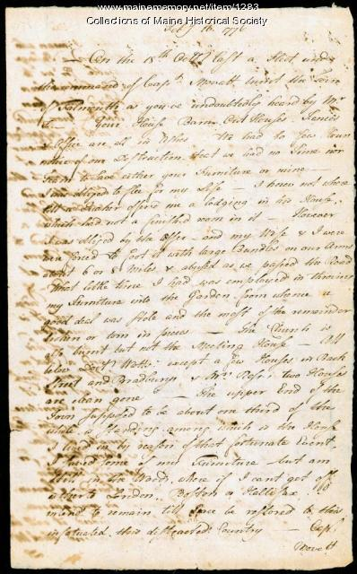Letter describing burning of Falmouth, 1775