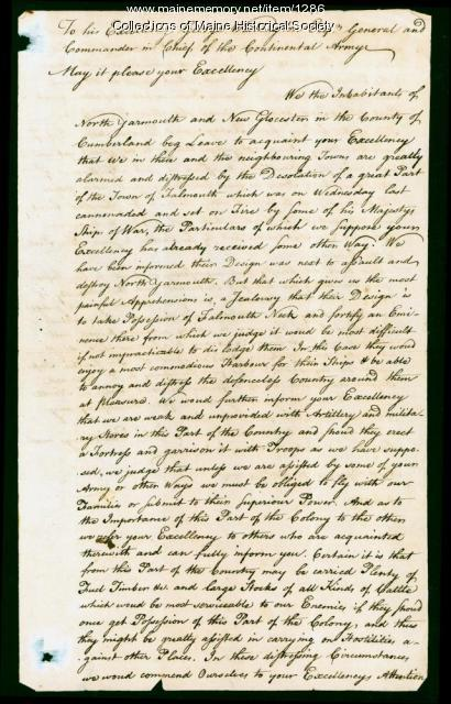 Letter to George Washington on burning of Falmouth, 1775