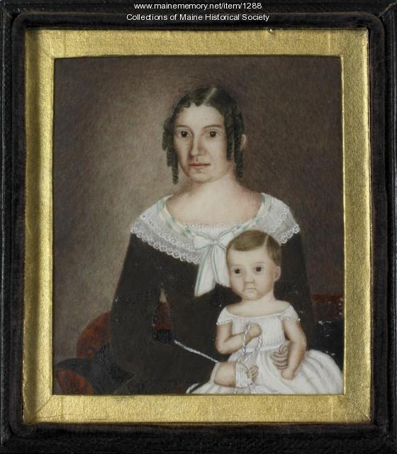 Miniature portrait of Persis Sibley Andrews and daughter, 1844