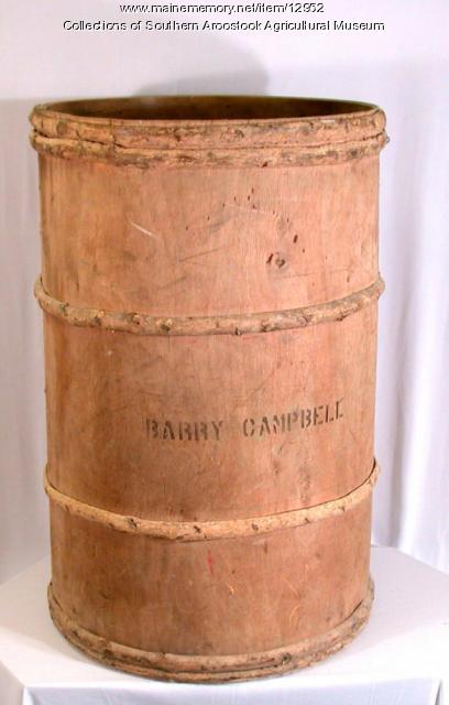 Hardwood potato barrel, Littleton, c. 1970