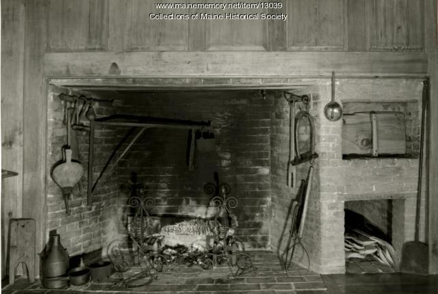 Fireplace, winter kitchen, James Merrill House, Falmouth, 1962