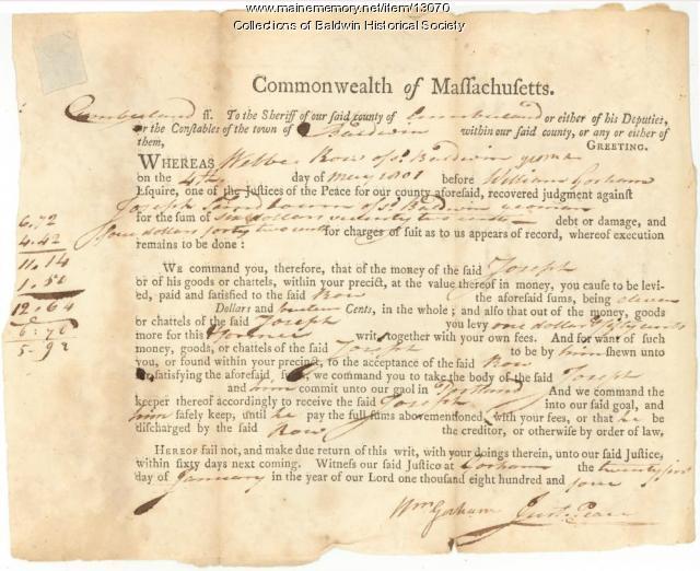 Judgment against Joseph Sandbourn, West Baldwin, 1804
