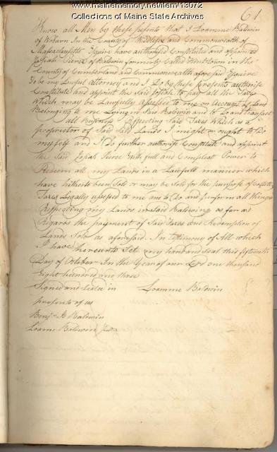 Loamme Baldwin, power of attorney, 1803