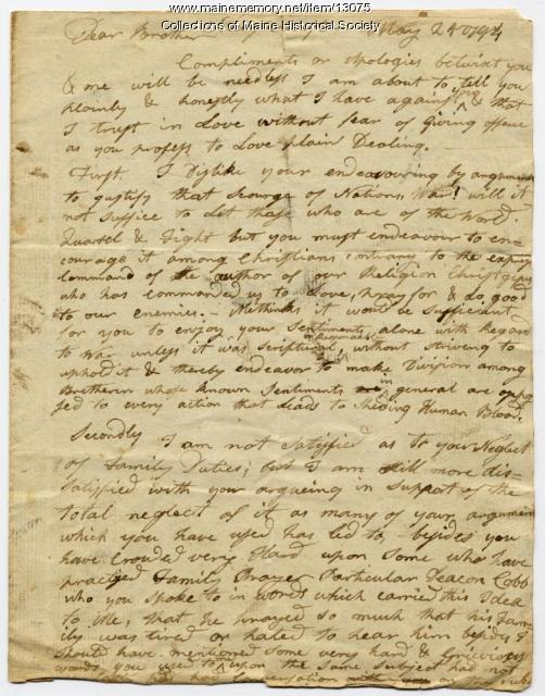 Letter from Ephraim Stinchfield, New Gloucester, 1794